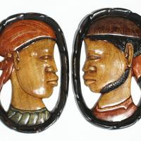 Man and woman wooden masks