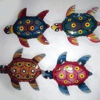 Set 4 colored metal turtles