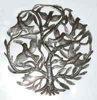 Metal wall art decor with birds: Tree of life