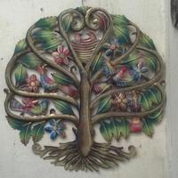 Painted tree of life: Metal wall art sale