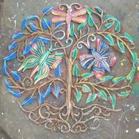 Colorful metal tree with butterflies