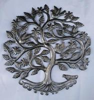 Tree of life with birds: Haitian metal art