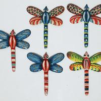 Set 5 colored metal dragonflies